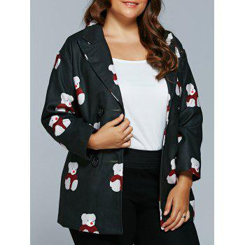 Plus Size Bear Print Blazer