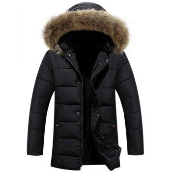 Zipper Button Fur Hooded Padded Coat