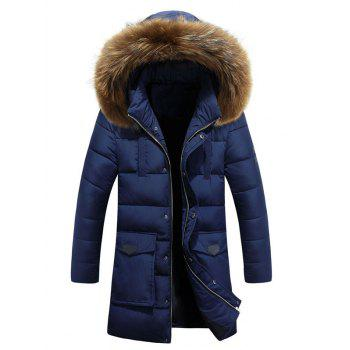 Large Pocket Faux Fur Hooded Padded Coat