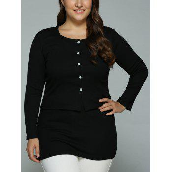 Buttoned Cardigan and Bodycon Tank Dress