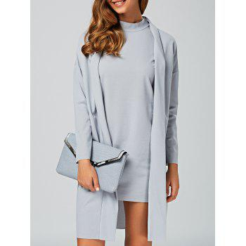 Stand Collar Plain Dress + Loose-Fitting Outerwear Twinset