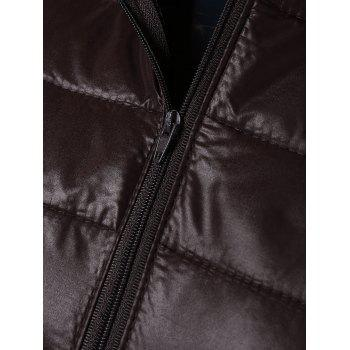 Topstitching Hooded Quilted Winter Jacket - COFFEE XL