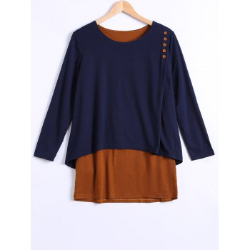 Long Sleeves Asymmetric Faux Twinset T-Shirt