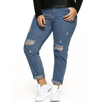Scratch Embellished Zipper Fly Ripped Jeans