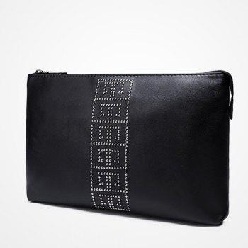 Wristlet Strap Rivet Clutch Bag -  BLACK