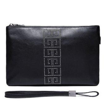 Wristlet Strap Rivet Clutch Bag - BLACK BLACK