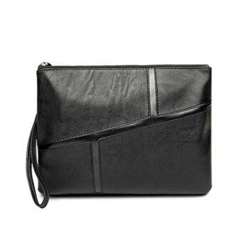 Spliced PU Leather Wristlet Clutch Bag - BLACK BLACK