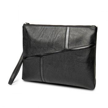 Spliced PU Leather Wristlet Clutch Bag - BLACK