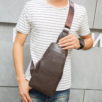 Faux Leather Chest Bag - COFFEE