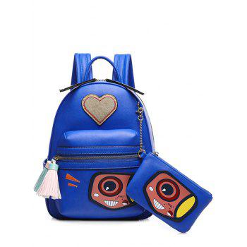 Tassels Color Splicing Heart Pattern Backpack