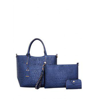 Zipper PU Leather Embossed Tote Bag