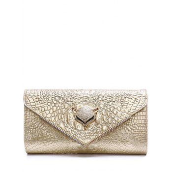 Embossing PU Leather Rhinestones Evening Bag - CHAMPAGNE GOLD CHAMPAGNE GOLD