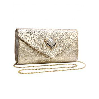 Embossing PU Leather Rhinestones Evening Bag -  CHAMPAGNE GOLD