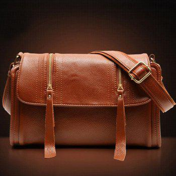Magnetic Closure PU Leather Double Zipper Crossbody Bag