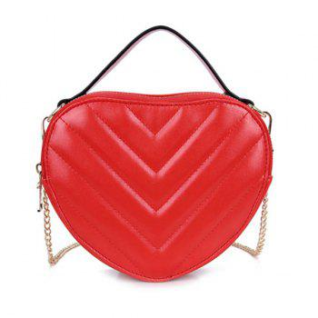Stitching Chains Heart Shaped Crossbody Bag