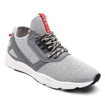 Buy Faux Leather Color Block Athletic Shoes LIGHT GRAY