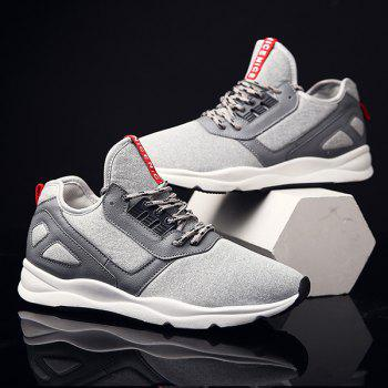 Faux Leather Color Block Athletic Shoes - LIGHT GRAY 41