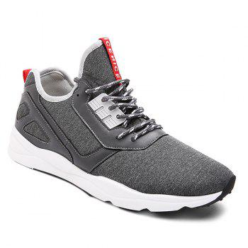 Buy Faux Leather Color Block Athletic Shoes DEEP GRAY