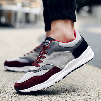 Tie Up Suede Color Block Athletic Shoes - WINE RED WINE RED