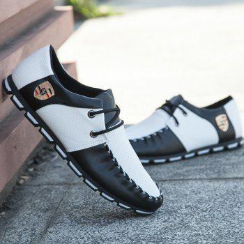 Buy Stitching PU Leather Tie Casual Shoes WHITE/BLACK