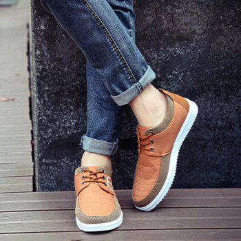 Lace-Up Splicing Stitching Casual Shoes - BROWN 41