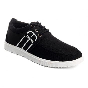 Buy Lace-Up Splicing Stitching Casual Shoes BLACK