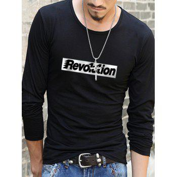 Long Sleeve T-Shirt with Letter Pattern