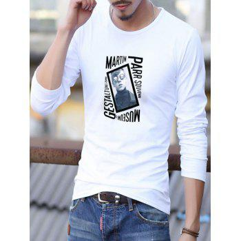 Long Sleeve Letter Character Printed T-Shirt - WHITE XL
