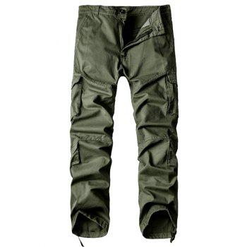 Multi-Pocket Drawstring Hem Zipper Fly Cargo Pants