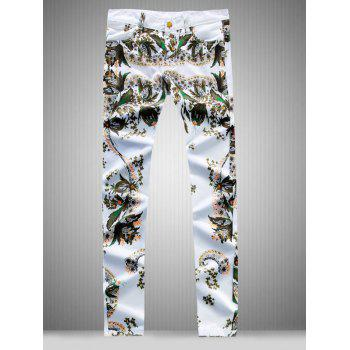 All Over Flower Printed Slim Fit Jeans