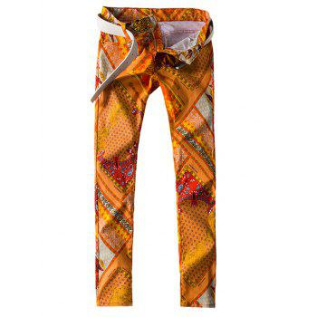 All Over Abstract Printed Slim Fit Jeans