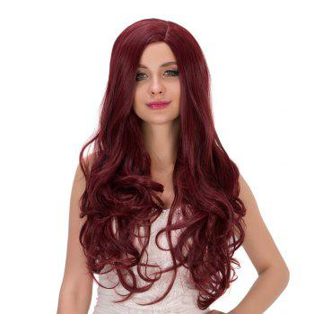 Long Side Parting Fluffy Wavy Heat Resistant Fiber Wig - DEEP RED