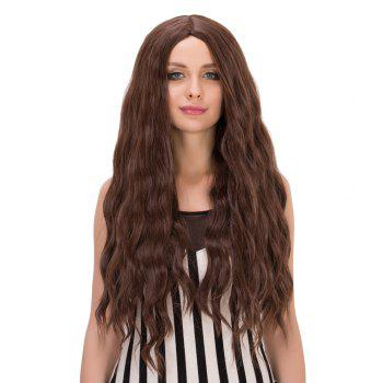 Long Wavy Centre Parting Heat Resistant Fiber Wig - DEEP BROWN