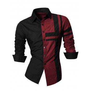 Cross Striped Long Sleeve Color Block Shirt - WINE RED WINE RED