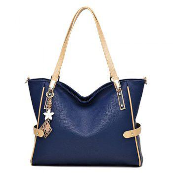 Buy Metal Colour Splicing Textured Leather Shoulder Bag DEEP BLUE