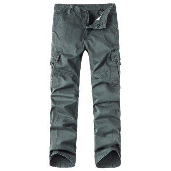 Straight Leg Zipper Fly Button Pocket Cargo Pants