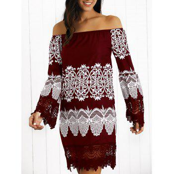 Off-The-Shoulder Laciness Paisley Casual Dress
