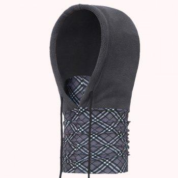 Outdoor Antifog Plaid Neck Hood Cycling Hat Scarf -  DEEP GRAY