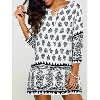 Tribal Print Drawstring Shift Dress