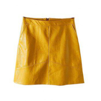 PU Leather A Line Skirt With Pockets