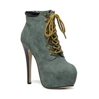 Stiletto Heel Platform Lace-Up Ankle Boots