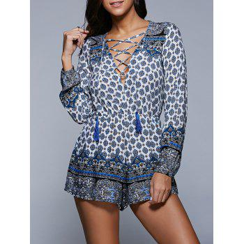 Plunging Neck Long Sleeve Lace Up Printed Romper
