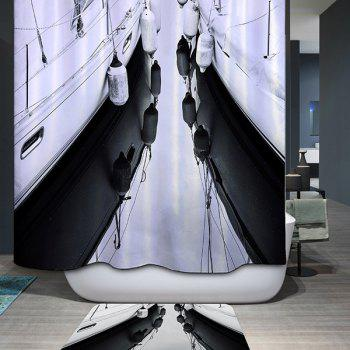 Mouldproof Waterproof Printed Shower Curtain - WHITE AND BLACK WHITE/BLACK