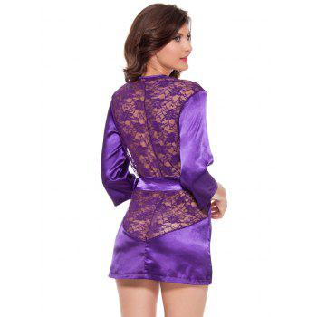 Lace Spliced Wrap Cut Out Sleepwear - PURPLE 2XL