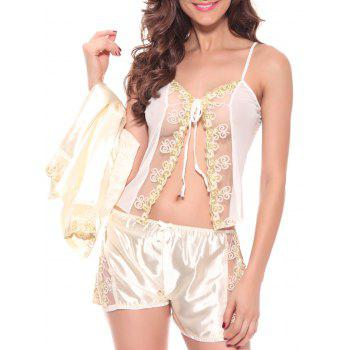 See-Through StrinTank Top and Slit Short and Embroidered Blouse