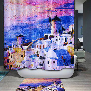 Mouldproof Waterproof Castles Printed Shower Curtain - COLORMIX COLORMIX
