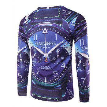 Crew Neck Long Sleeve 3D Watch Print T-Shirt - DEEP BLUE M