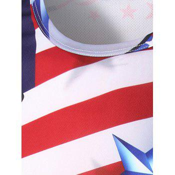 Crew Neck Long Sleeve 3D Stars and Stripes Flag Print T-Shirt - COLORMIX M