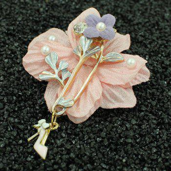 Faux Pearl High Heels Flower Brooch - SHALLOW PINK