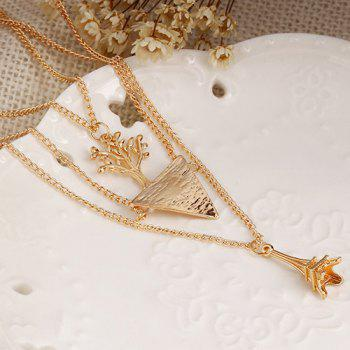 Eiffel Tower Triangle Life Tree Layered Necklace - GOLDEN